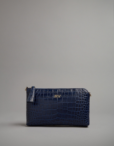 Blue embossed alligator Nano Lisa Saffiano clutch bag