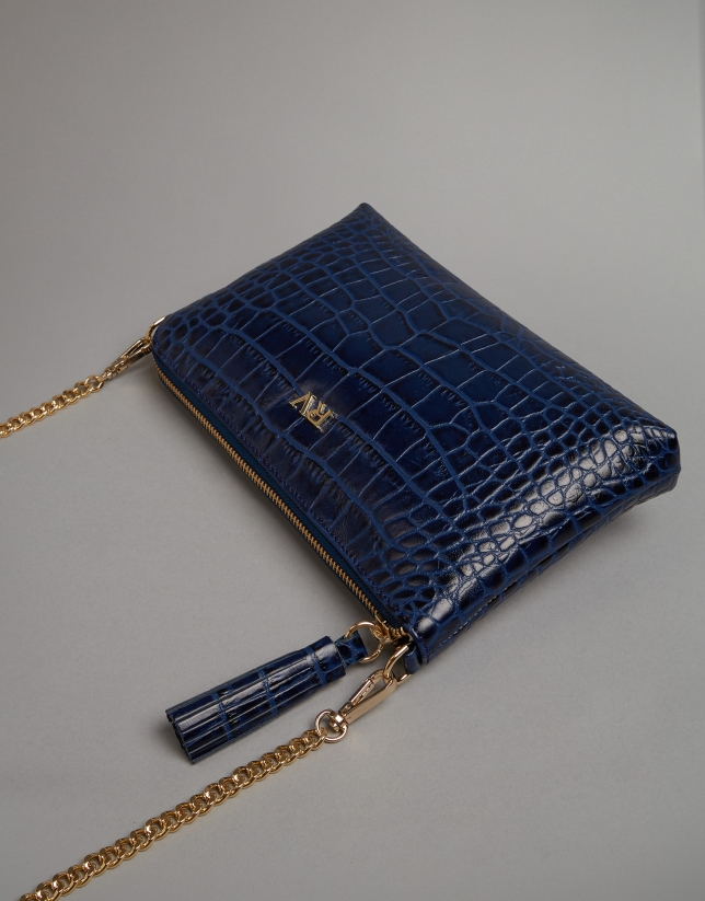 Blue embossed alligator Nano Lisa Saffiano clutch bag