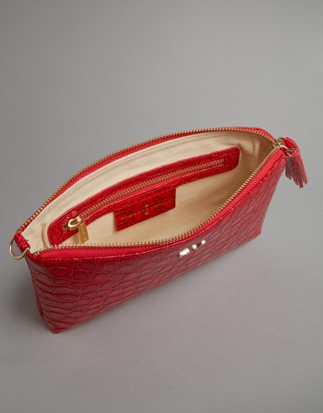 Red embossed alligator Nano Lisa Saffiano clutch bag