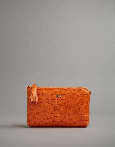 Pumpkin embossed alligator Nano Lisa Saffiano clutch bag