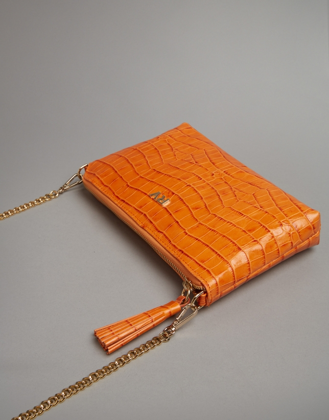 Pumpkin embossed alligator Nano Lisa Saffiano clutch bag