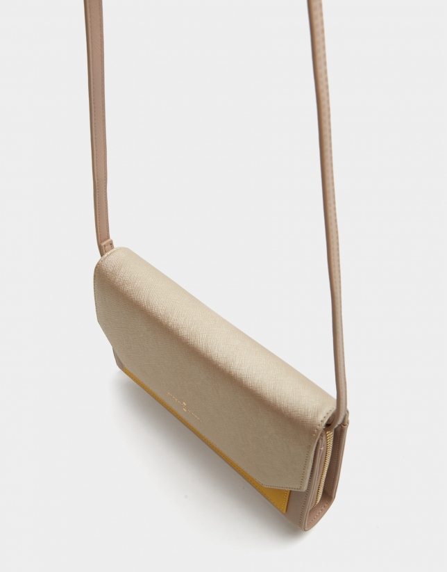 Mustard, taupe and beige leather Valeria shoulder bag
