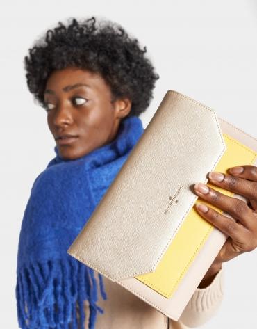 Mustard, taupe and beige leather Valeria shoulder bag