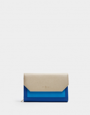 Blue and beige leather Valeria shoulder bag