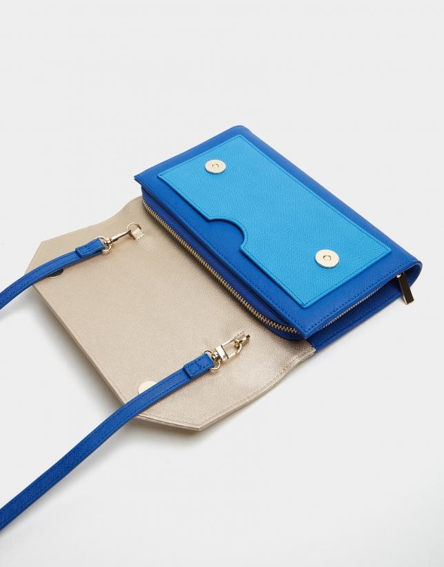 Blue and beige leather Valeria shoulder bag