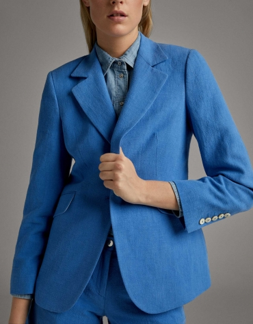 Ultramarine blue suit jacket with one button