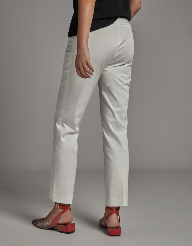 Beige ankle-length pants