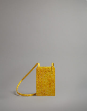 Yellow embossed alligator leather mobile phone holder bag