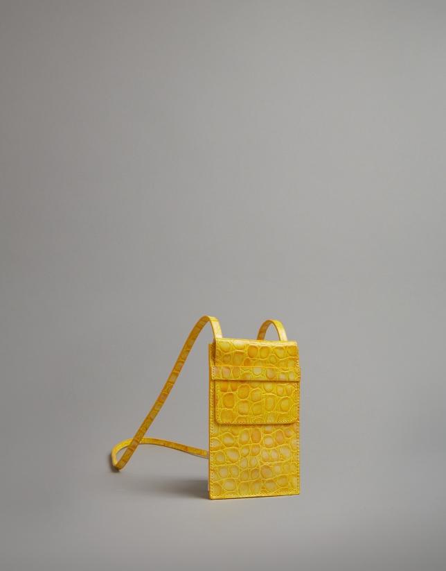 Yellow embossed alligator leather mobile phone holder bag