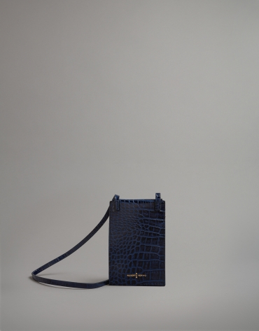 Blue embossed alligator leather mobile phone holder bag