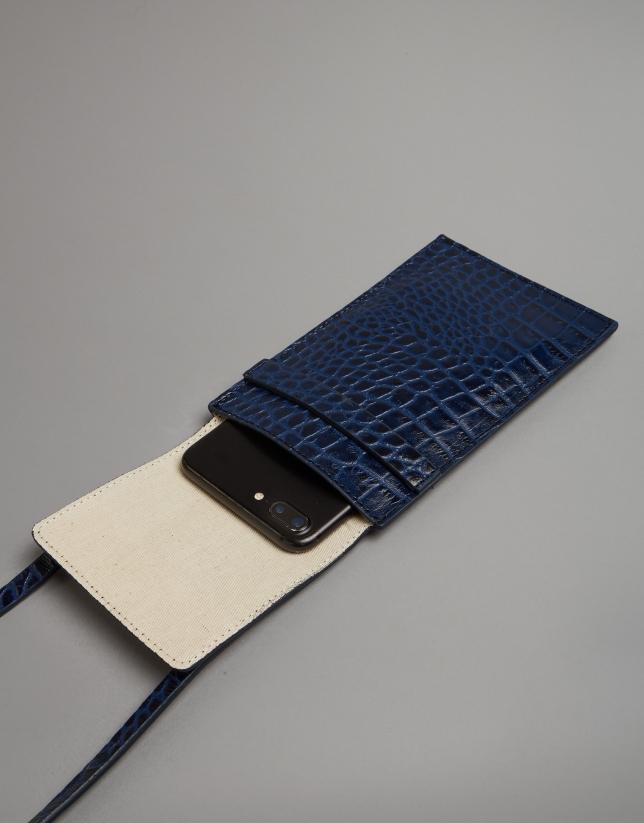 Blue embossed alligator leather mobile phone holder bag