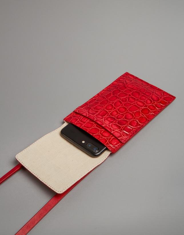Red embossed alligator leather mobile phone holder bag