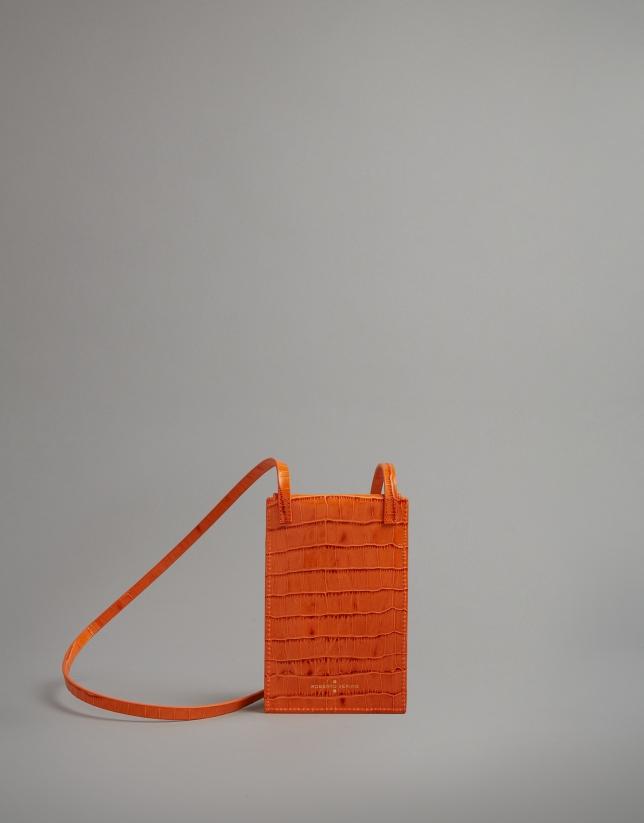 Orange embossed alligator leather mobile phone holder bag