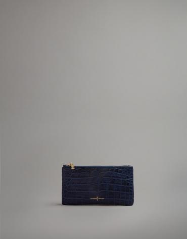Blue embossed alligator leather flat purse