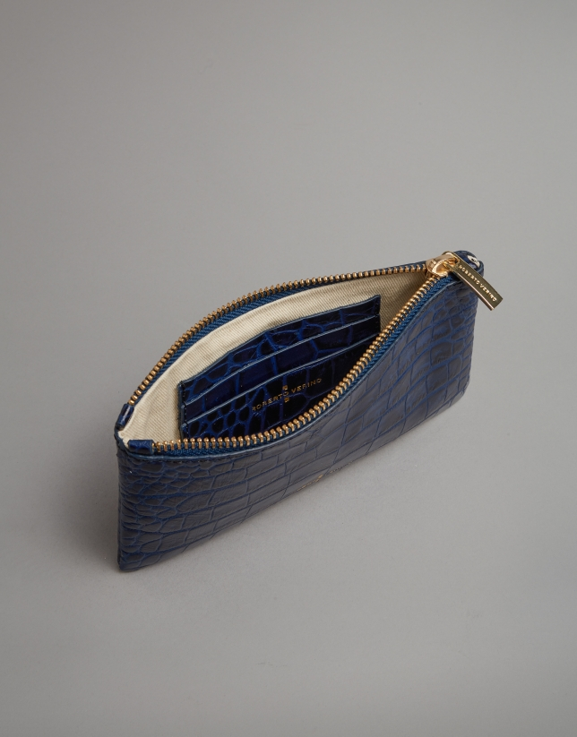 Blue embossed alligator leather flat purse