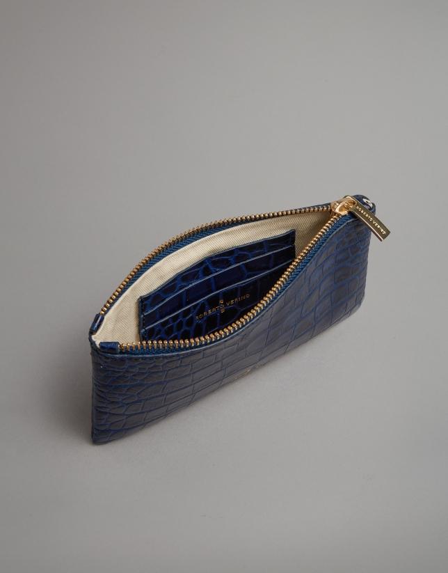 Monedero grabado coco azul