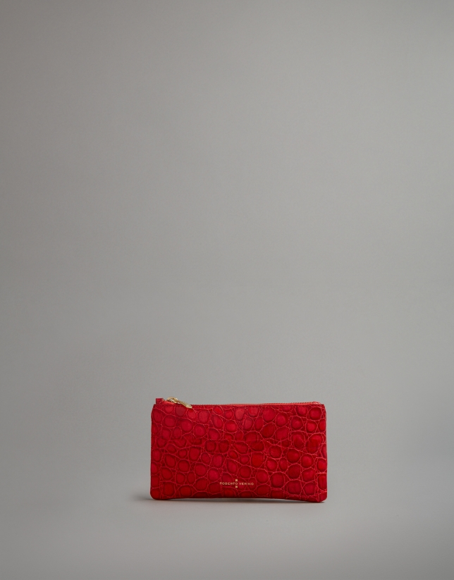 Red embossed alligator leather flat purse