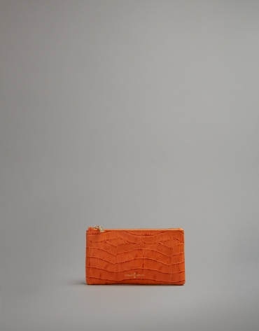 Orange embossed alligator leather flat purse