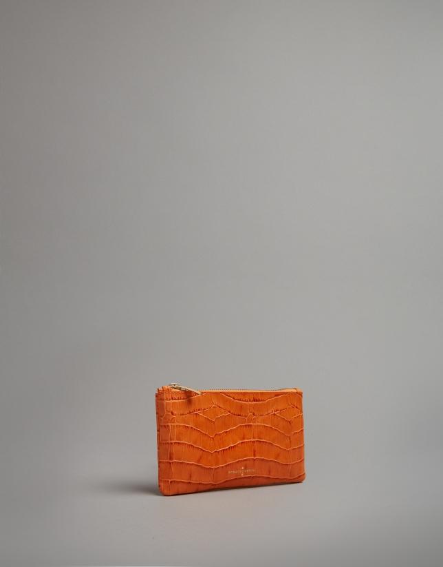 Orange embossed alligator leather flat purse