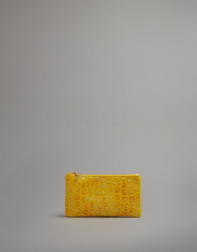 Monedero grabado coco amarillo