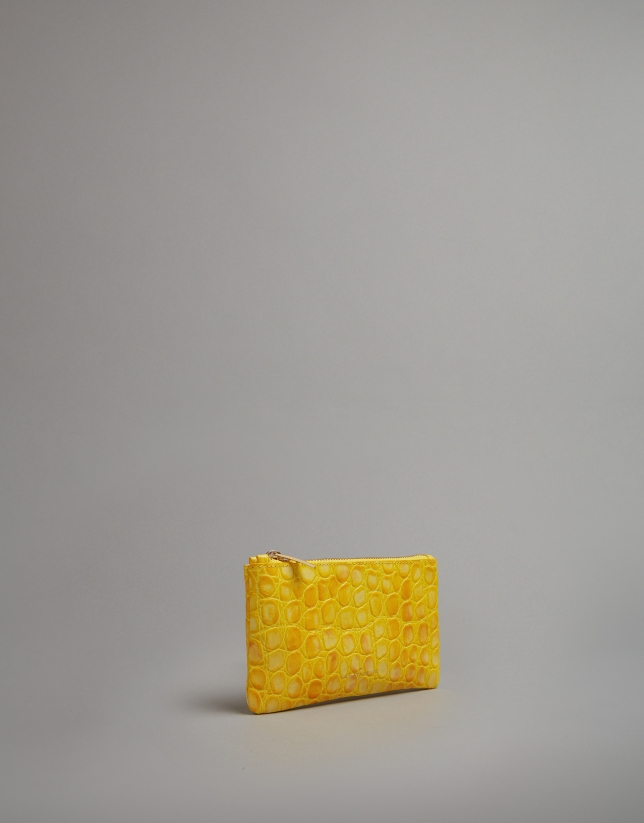 Yellow embossed alligator leather flat purse