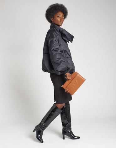 Black midi combination skirt with belt