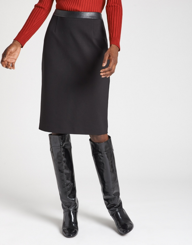 Black midi combination skirt with belt