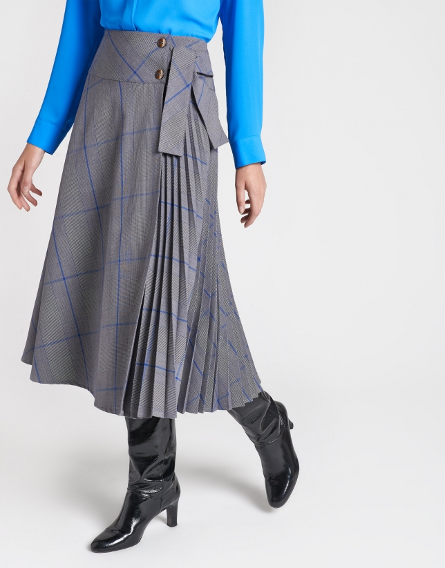 Gray checked, pleated skirt