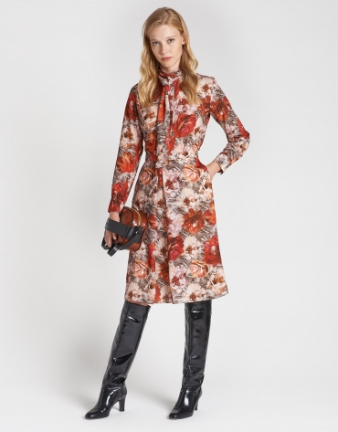 Floral print skirt with front fold