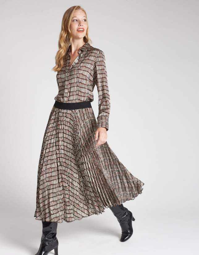 Falda larga plisada estampado geométrico
