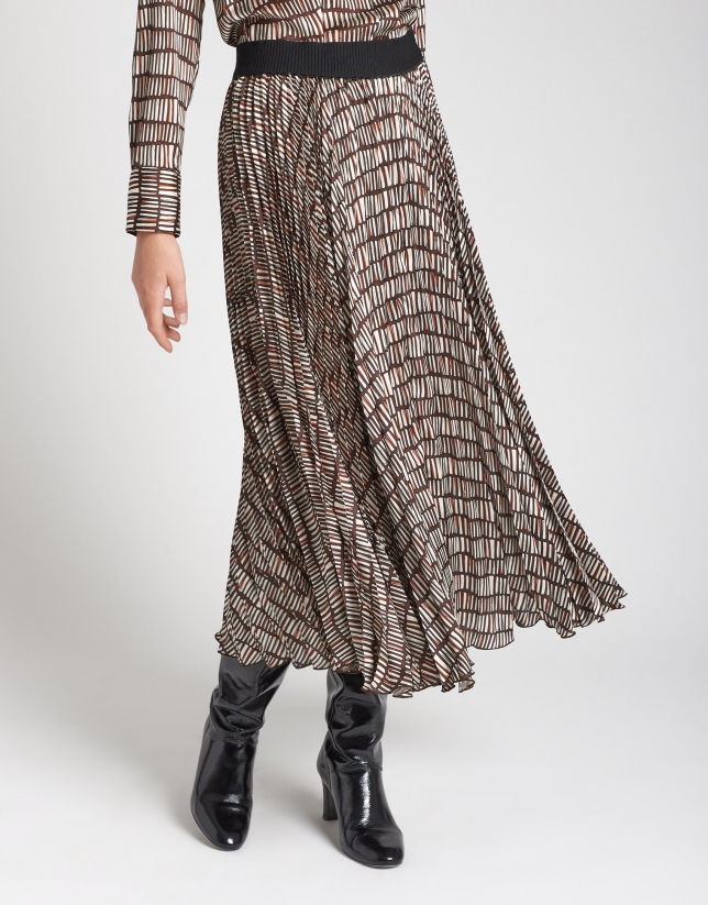 Geometric print long pleated skirt