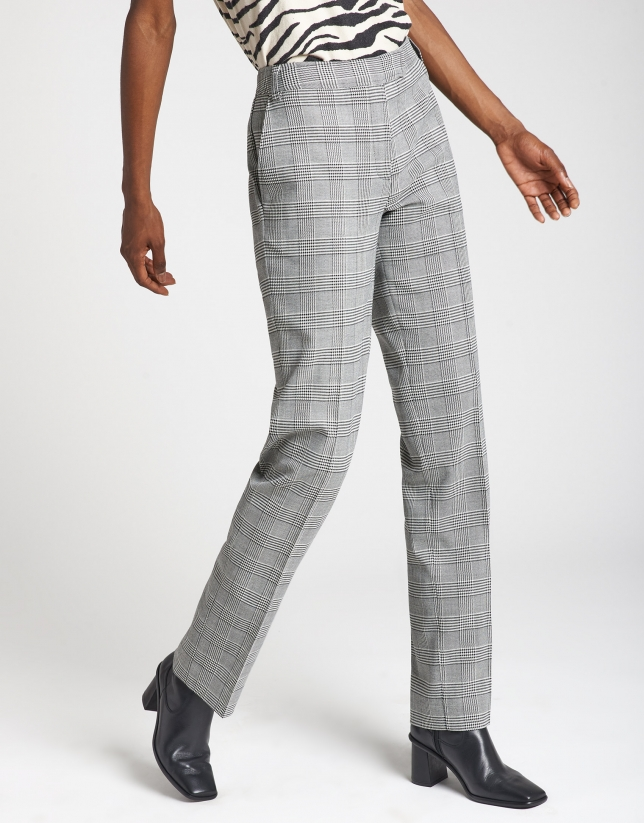 Pantalón recto cuadro gales gris