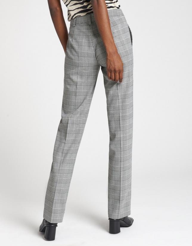 Gray glen plaid straight pants