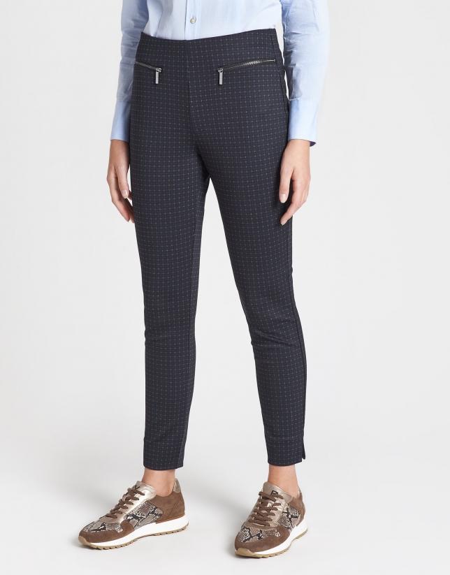 Blue checked cigarette pants