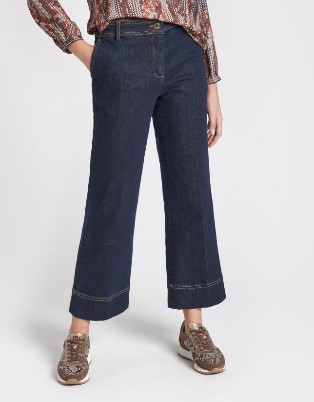 Dark blue wide jeans pants