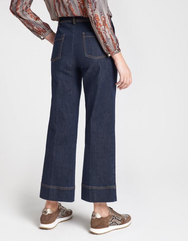 Pantalón vaquero ancho azul oscuro