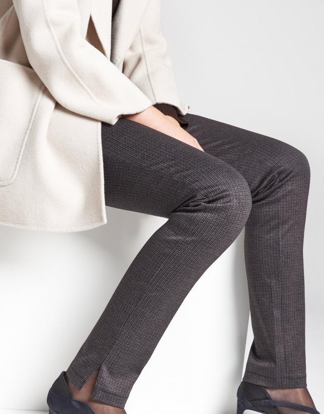 Brown houndstooth cigarette pants