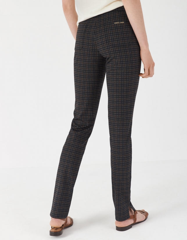 Brown checked cigarette pants