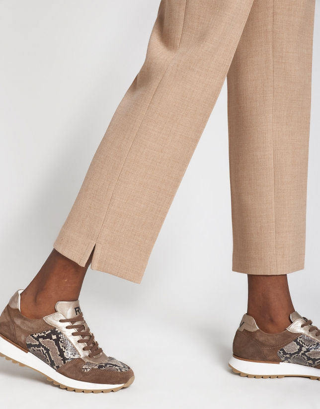 Camel straight ankle-length pants