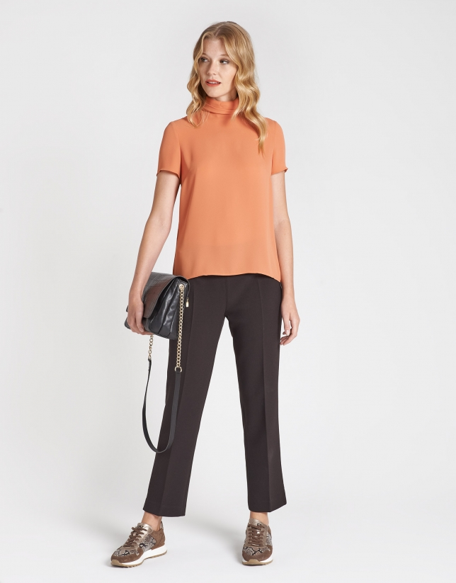 Brown straight ankle-length pants