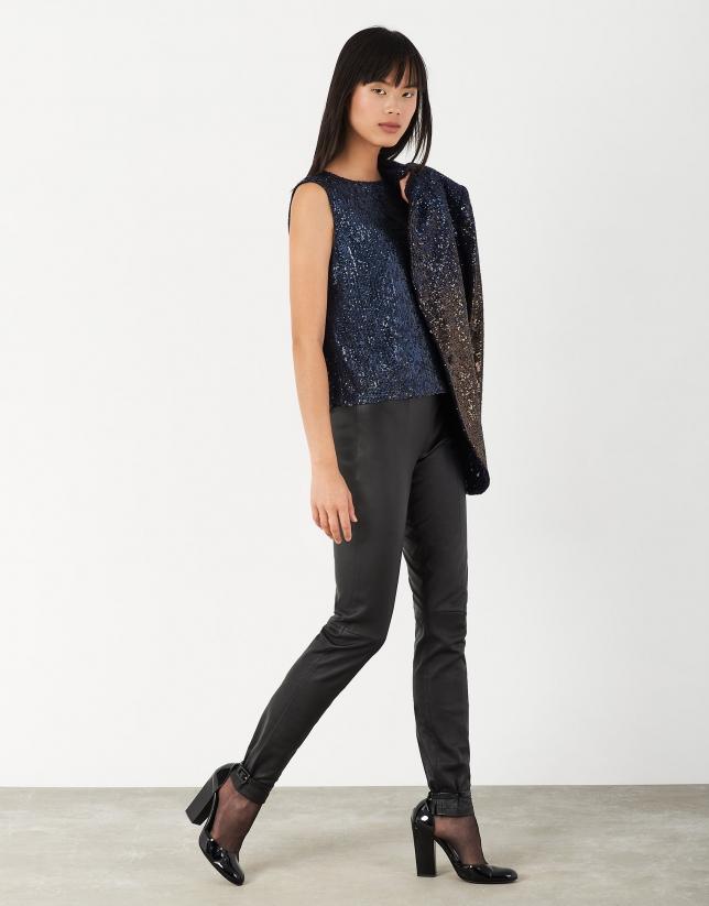 Black elastic napa pants