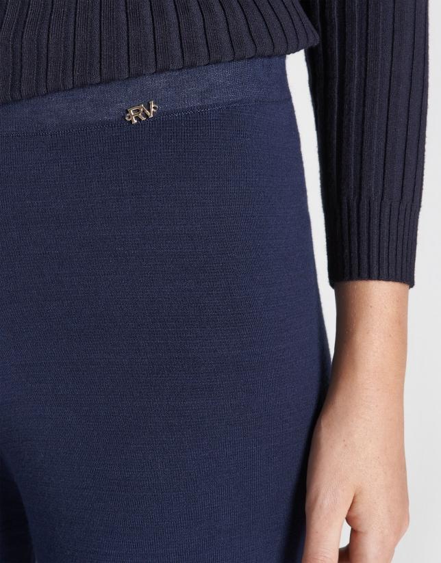 Pantalón ancho punto azul marino