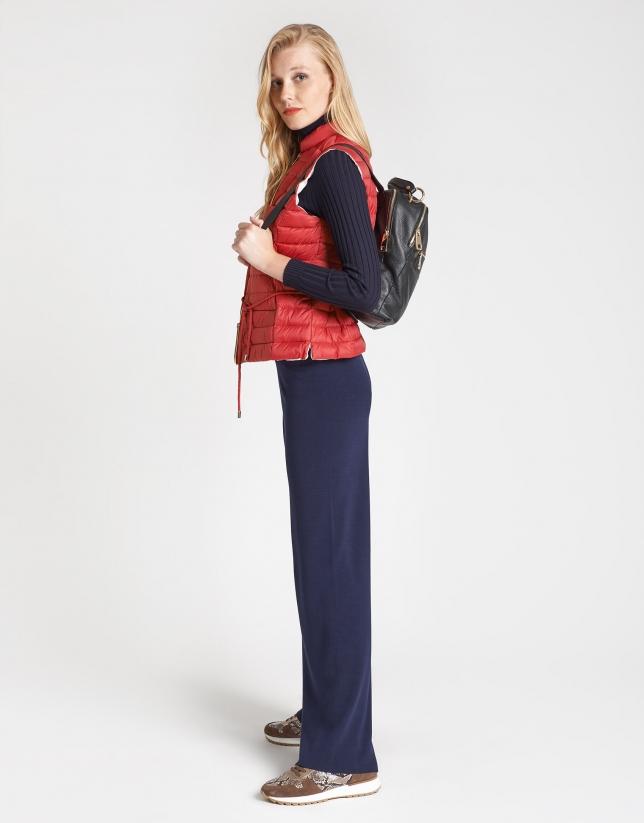Navy blue knit wide pants