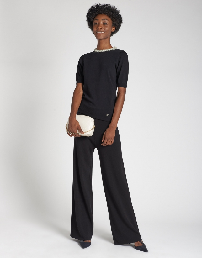 Black knit wide pants