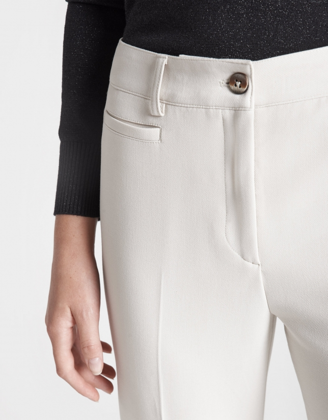 Beige back-stitched straight ankle-length pants