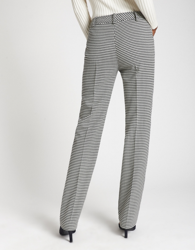 Houndstooth straight ankle-length pants