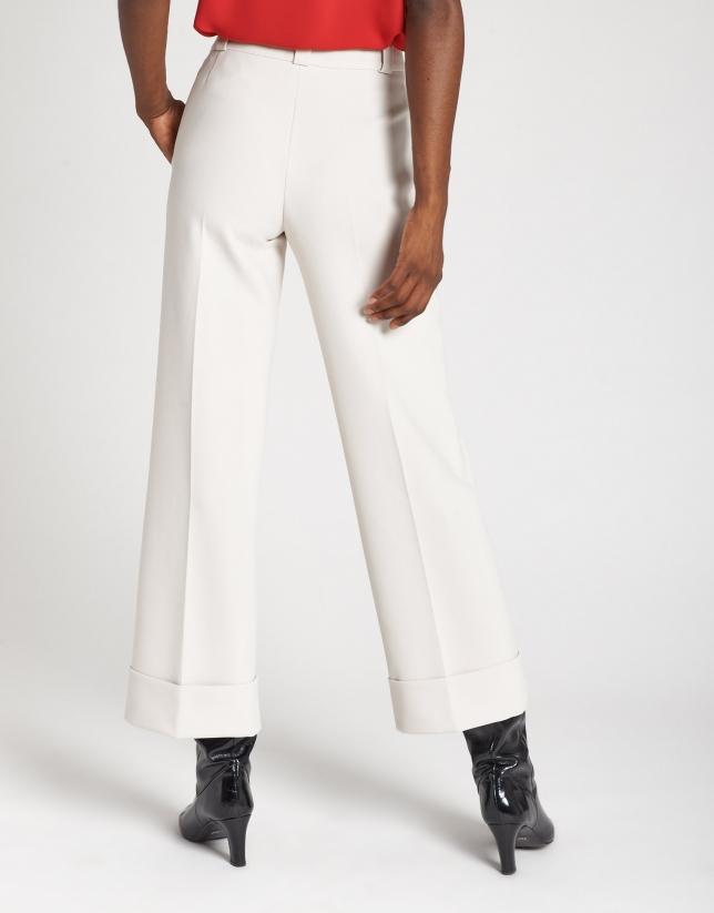 Pantalón ancho de vestir crudo
