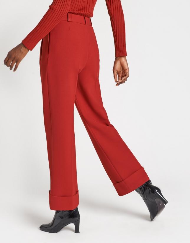 Pantalón ancho de vestir rojo