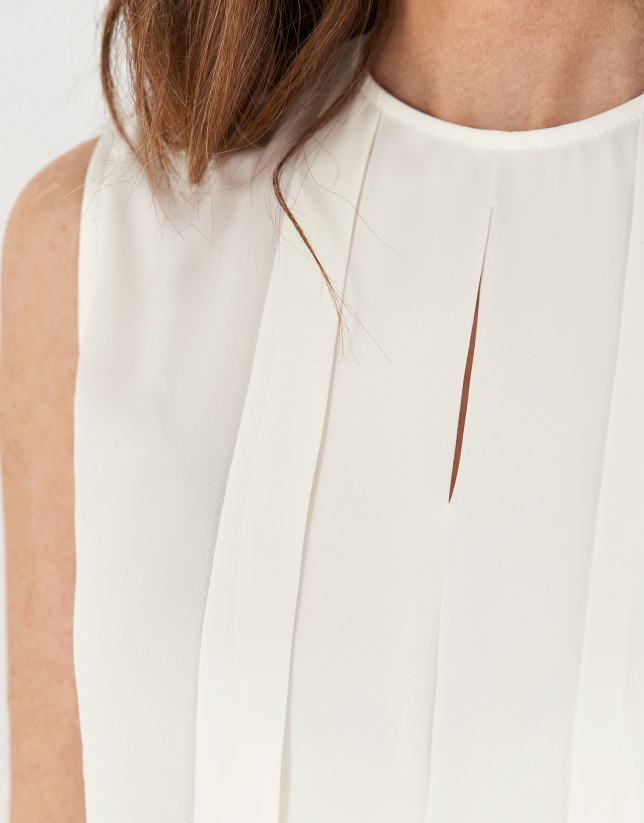 Beige top with pleated front