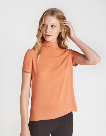 Brick red top with high collar